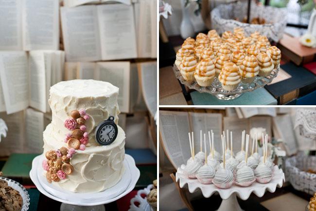 wedding cake with clock