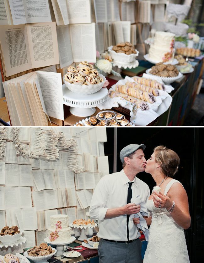 dessert table with books