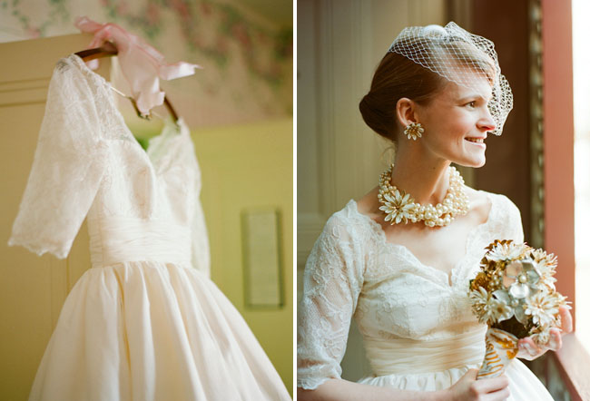 bride with vintage wedding dress