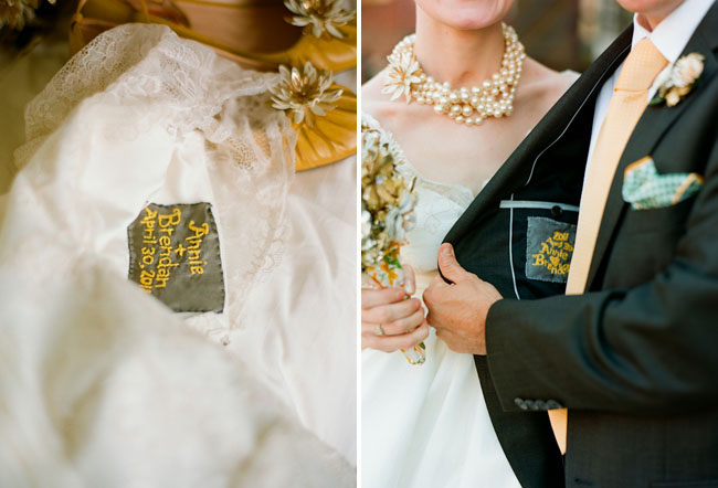 embroided wedding date on dress suit