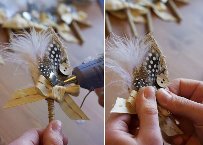 ... and it's time to glue everything down. Start by gluing on the bows