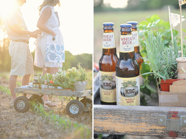 garden engagement photos wagon