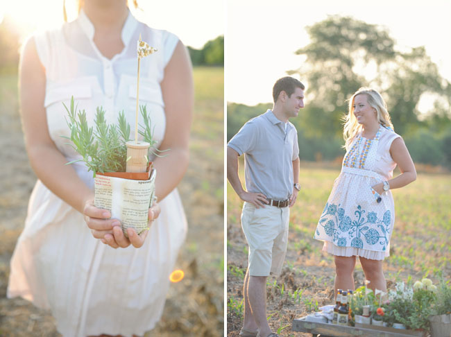 engagement photos planting garden