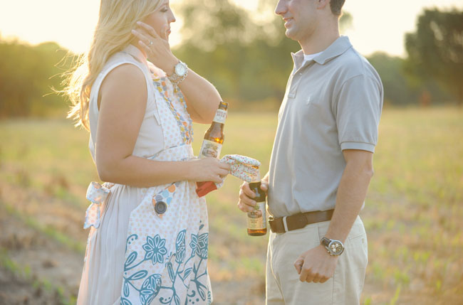 garden engagement photos with beer