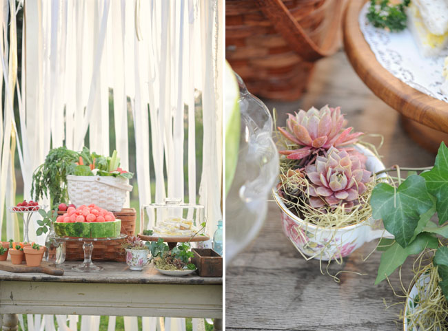 garden inspired table with watermelon cake