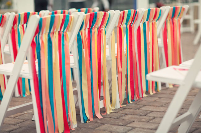 rainbow ribbons back of chairs