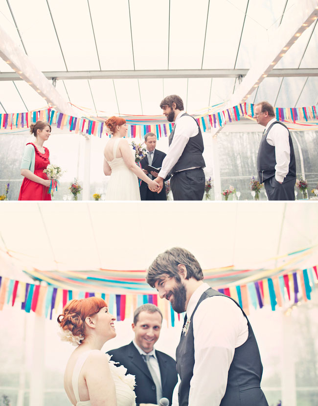 rainbow bunting wedding ceremony