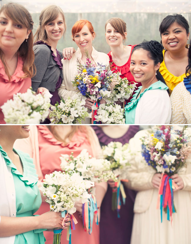bridesmaids in rainbow colors