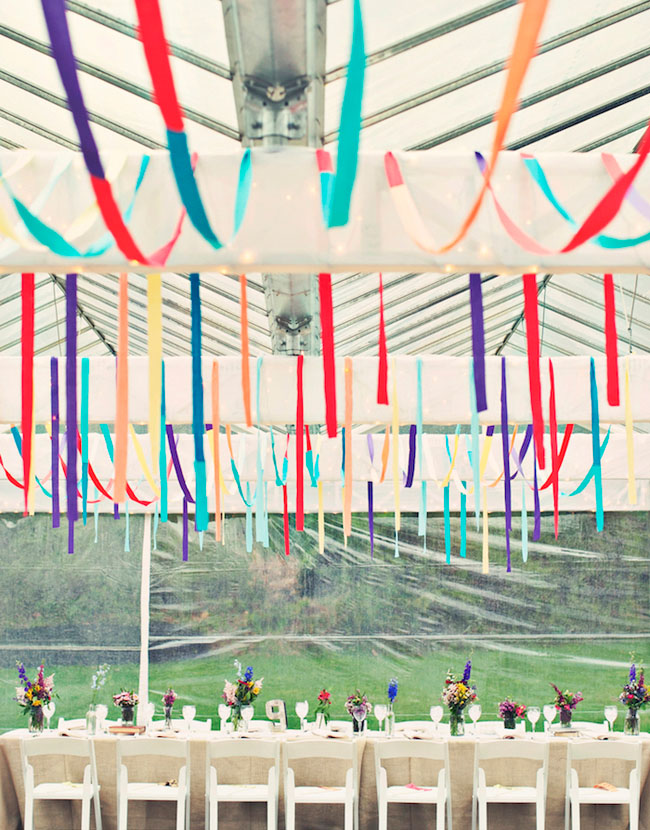 rainbow bunting hanging greenhouse