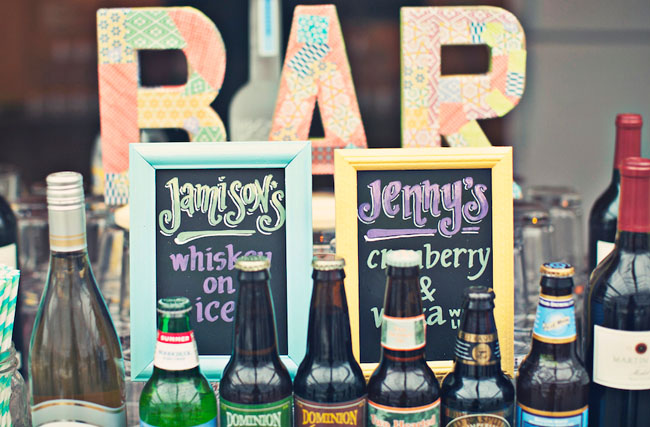 wedding bar drinks