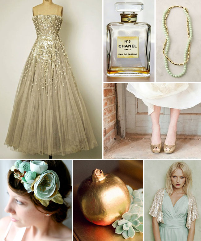 gold and aqua wedding ideas