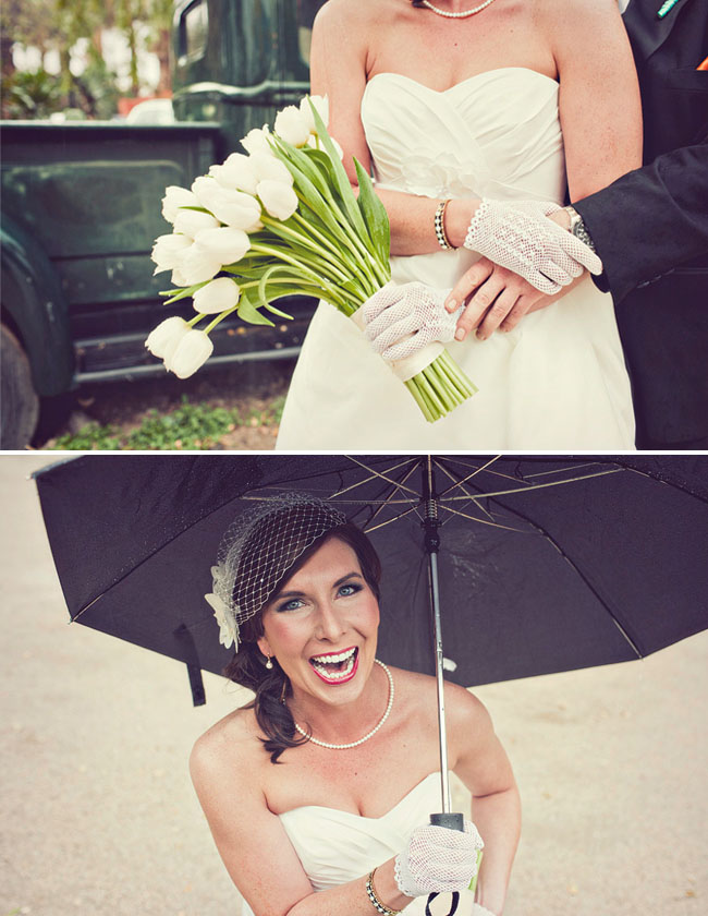 bride with lace gloves