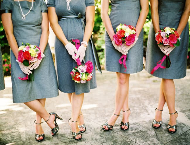 bridesmaids with gloves