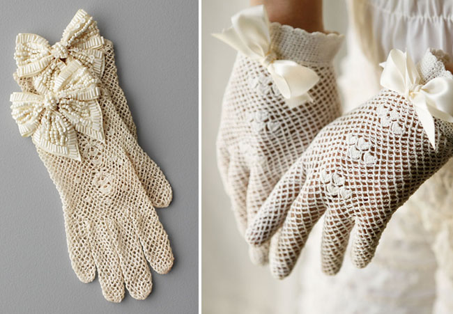 vintage lace gloves with bows