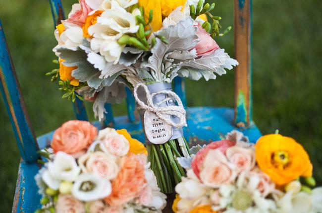wedding bouquet metal tag