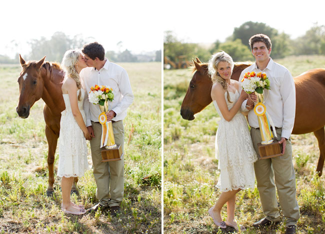 bride and groom with horse and trophy