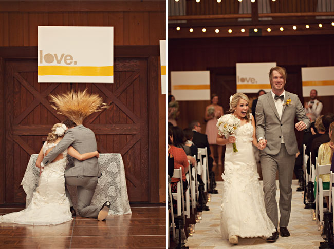 wedding in a barn with love banners