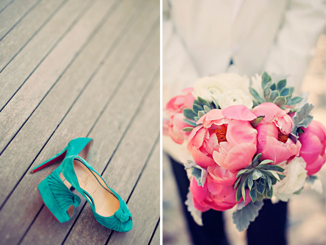 peony bouquet blue wedding shoes