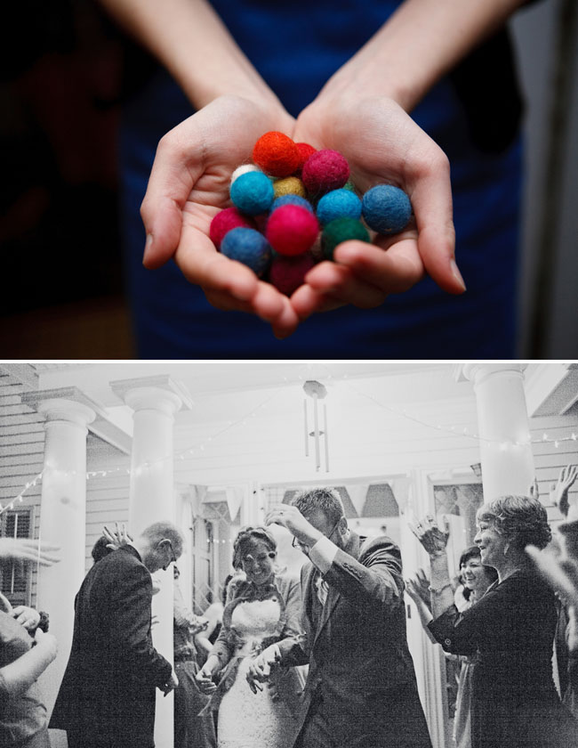 wedding exit yarn balls
