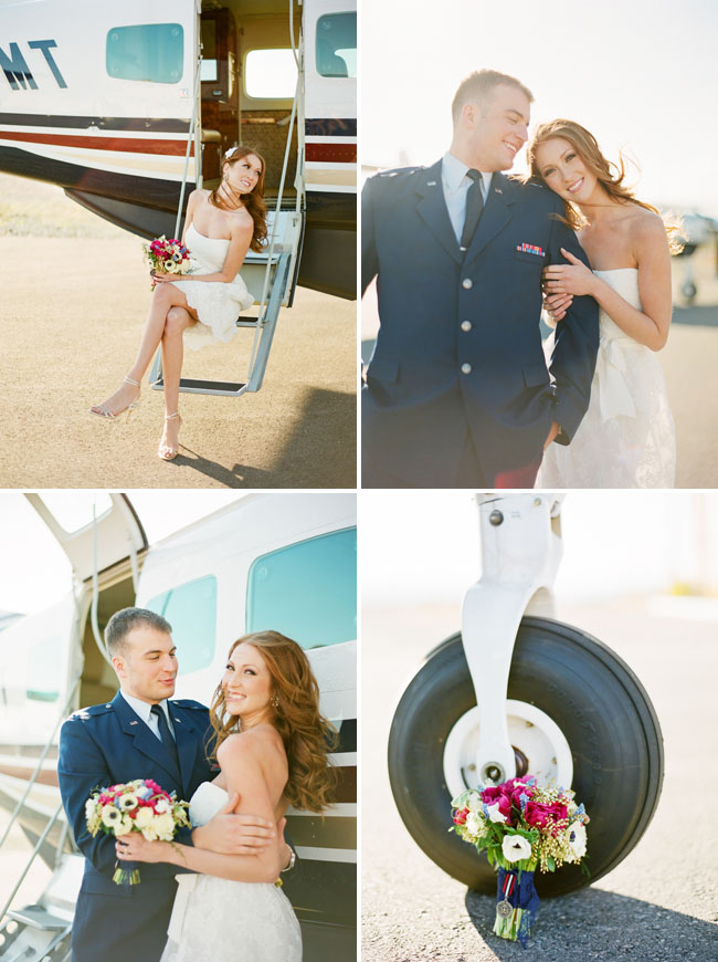 bride and groom with plane