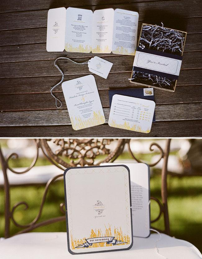 wedding invitation suite yellow