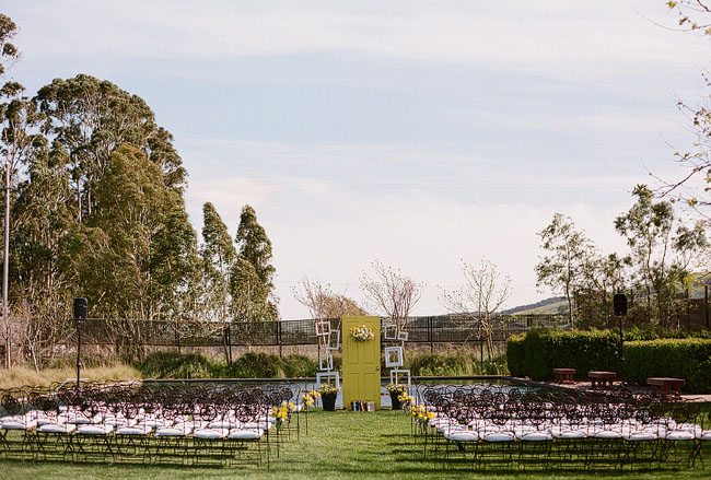 wedding ceremony with a door as backdrop