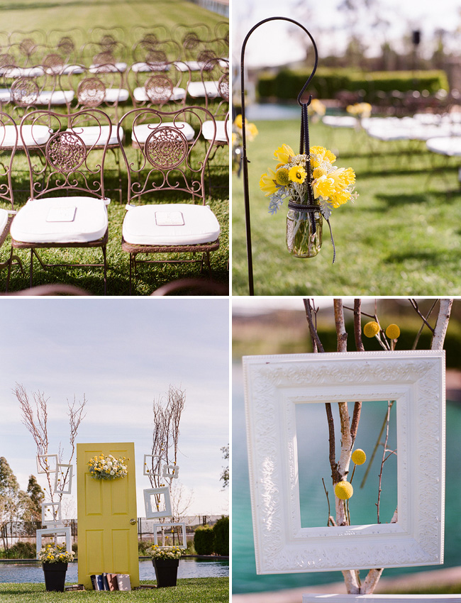 yellow door as ceremony backdrop