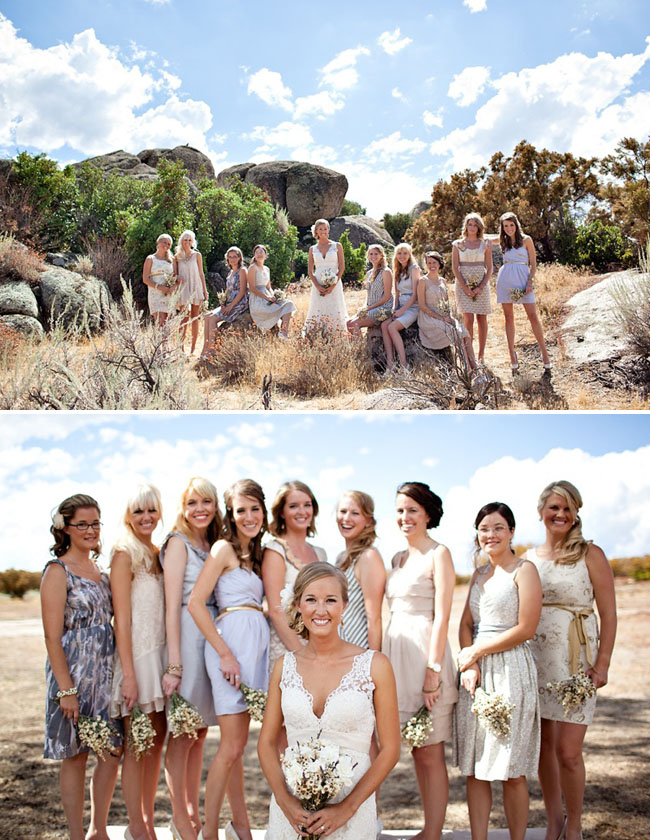 bridesmaids in different dresses