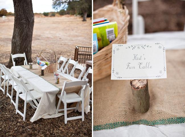 kids table at wedding