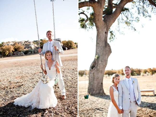 wedding portraits on a swing