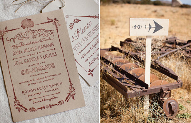 rustic wedding invitations with stamp