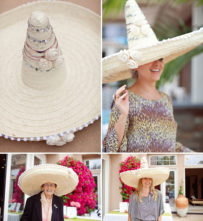 sombrero bridal shower guests with hats