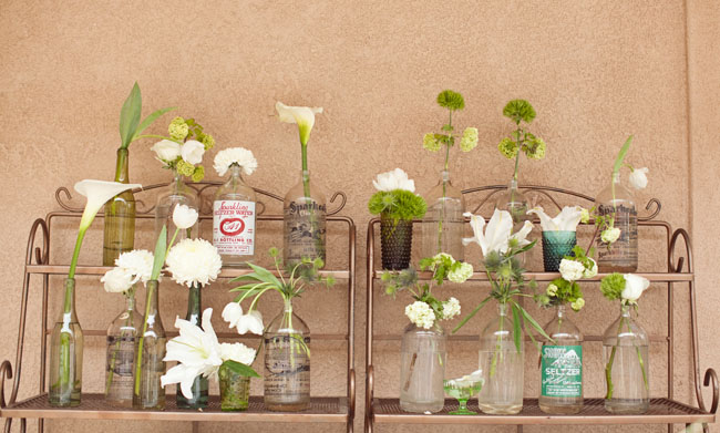 rustic bottles with airplants
