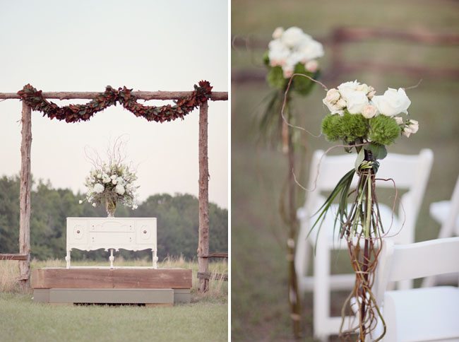 outdoor wedding with unique ceremony backdrop