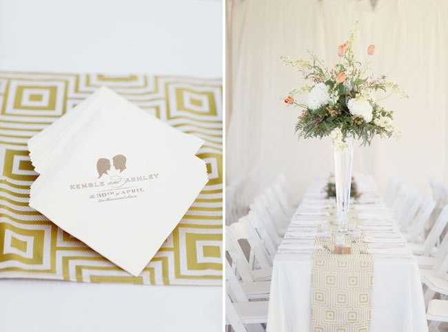 wedding napkins with silhouettes