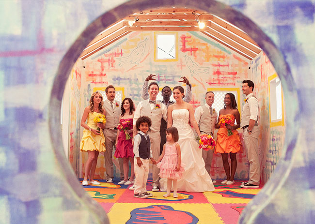 colorful wedding at museum