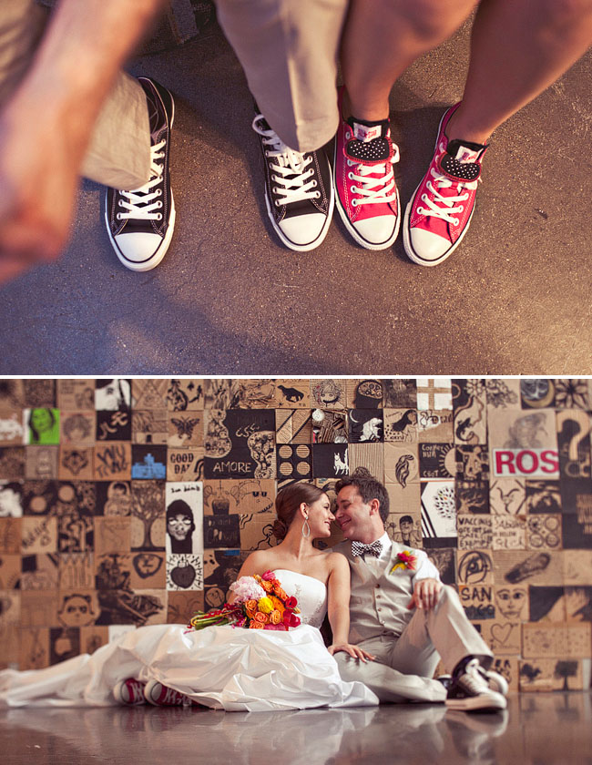 bride and groom in converse chuck taylors