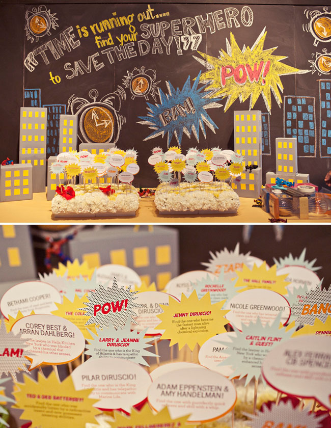 superhero place cards wedding