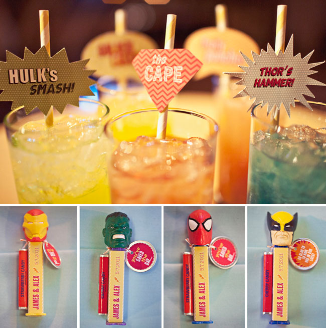 superhero wedding drinks pez
