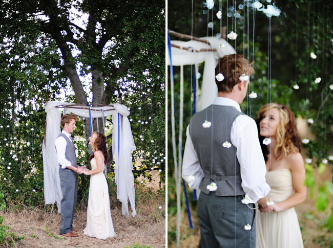 outdoor wedding ceremony cotton hanging
