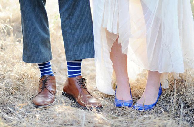 blue wedding shoes blue socks