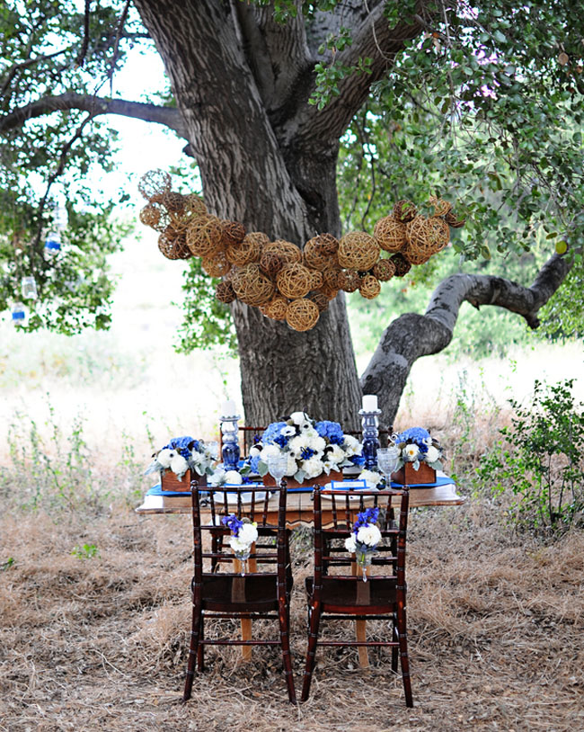 reception table with hanging wooden balls