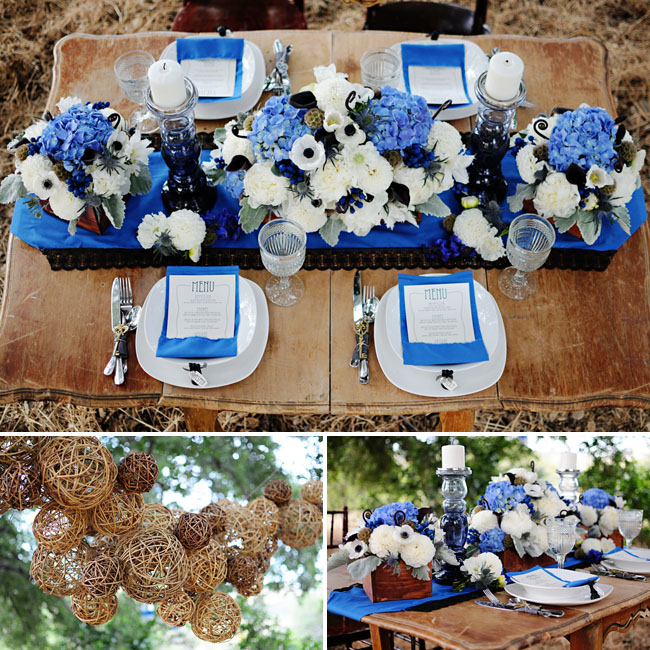 blue and white wedding table decor flowers