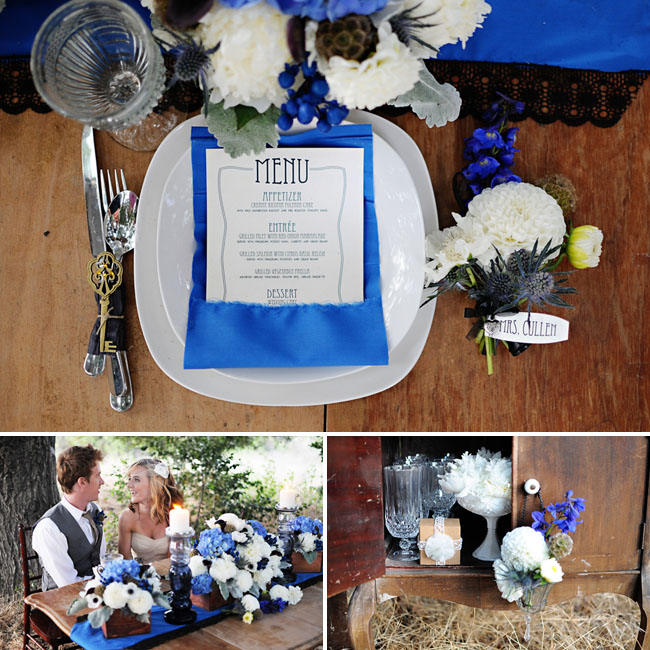 blue and white wedding table decor flowers twilight