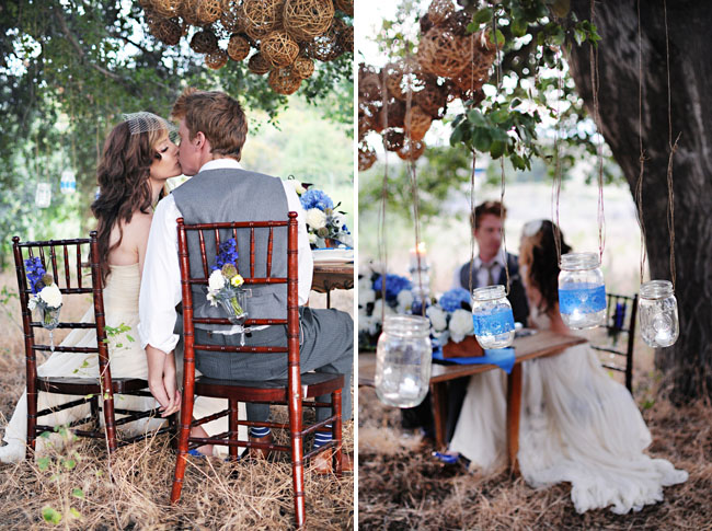 wooden balls hanging from tree wedding decor