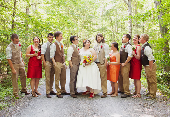 wedding party in woods