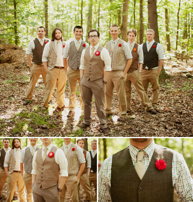 groomsmen in vests and tan pants