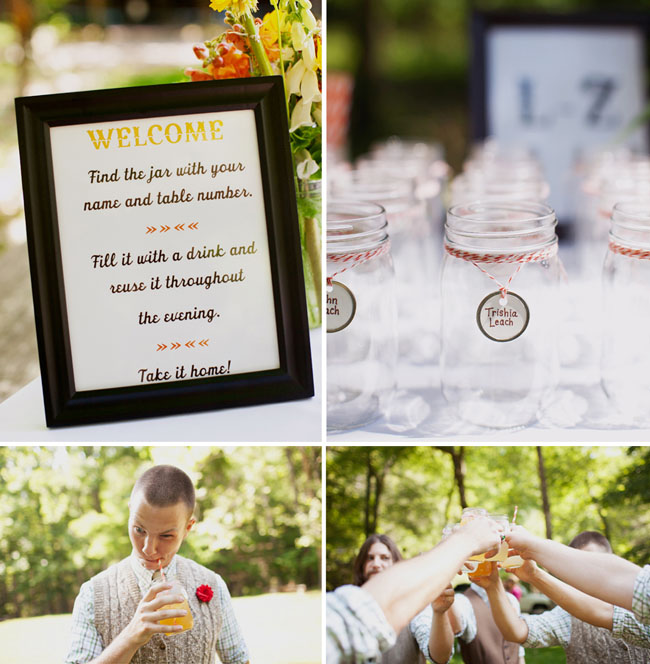 mason jars for glasses at wedding