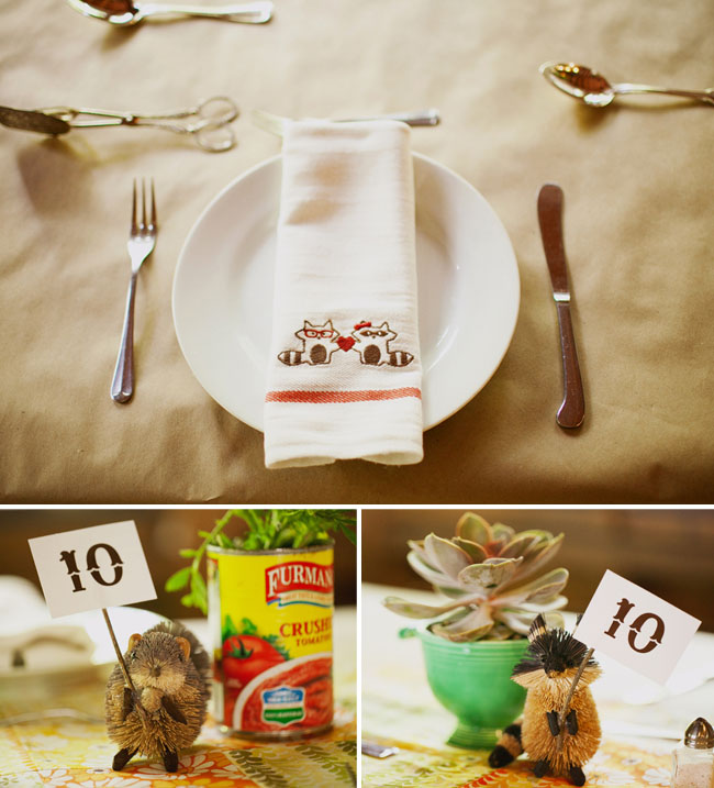 raccoons as wedding decor