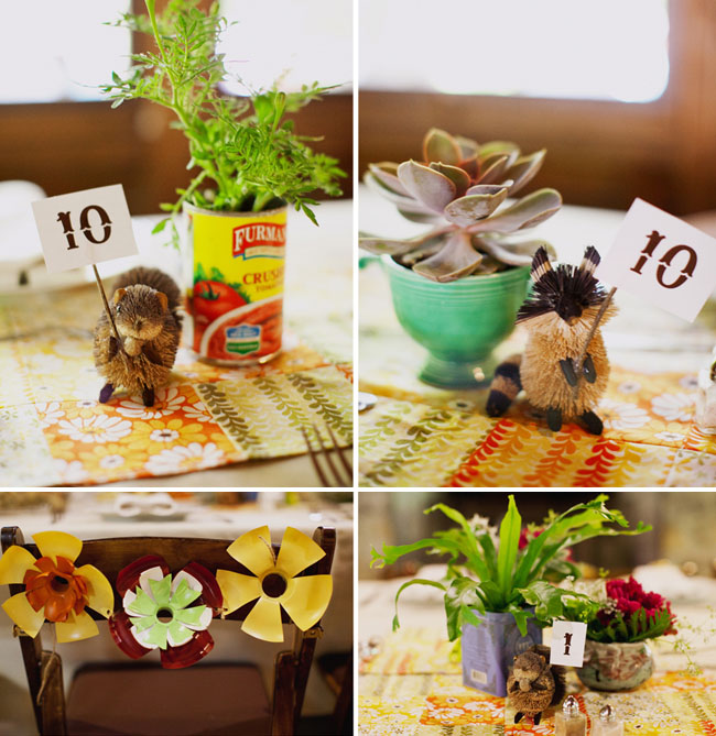woodsy wedding table decor numbers